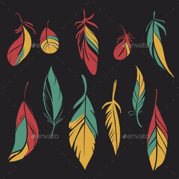 GraphicRiver Set of Feathers 10664179