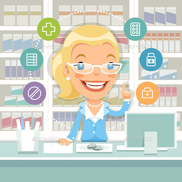GraphicRiver Pharmacist Woman Behind the Counter 10647681