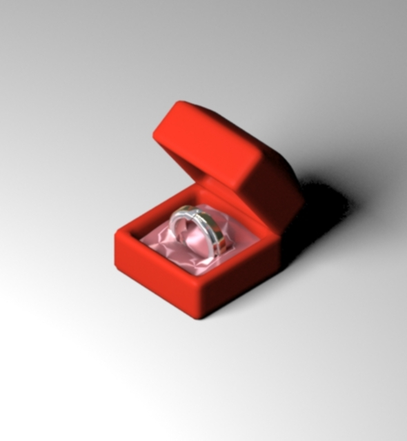 Wedding Modern Ring in Jewelry Box - 3DOcean Item for Sale