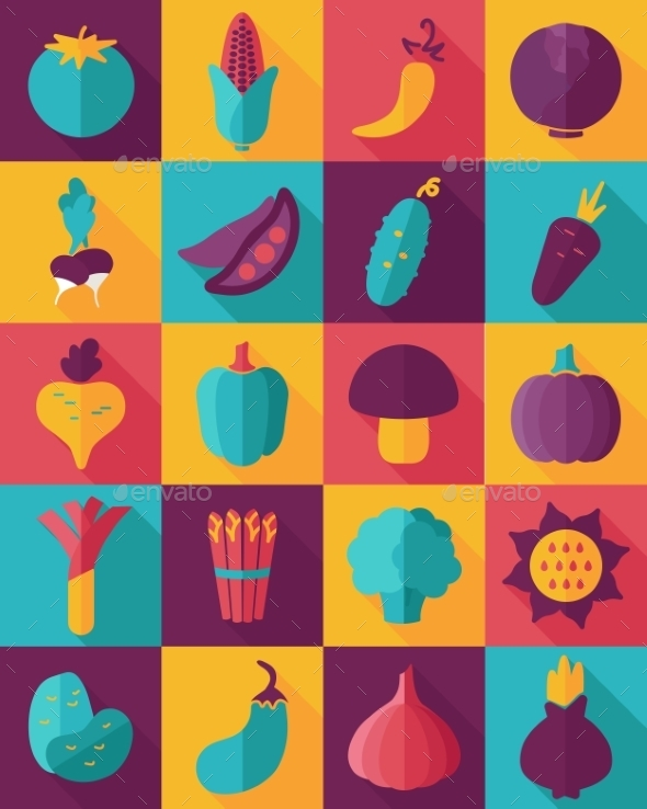 GraphicRiver Vegetable Flat Icon with Long Shadow 10664434