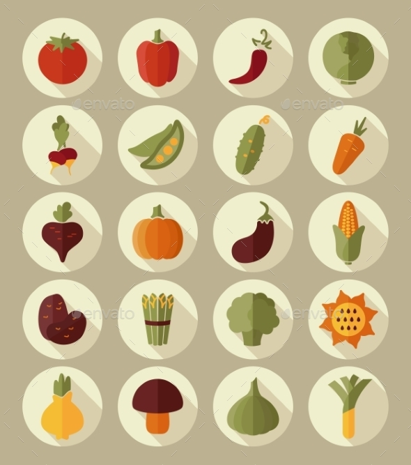 GraphicRiver Vegetable Flat Icon with Long Shadow 10664493