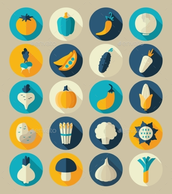 GraphicRiver Vegetable Flat Icon with Long Shadow 10664525