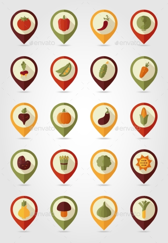 GraphicRiver Vegetable Mapping Pin Icons 10664573