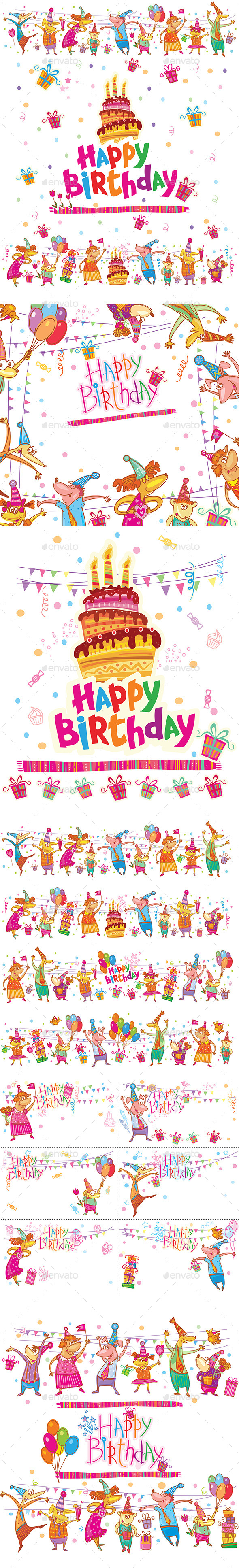 GraphicRiver Set of Birthday Greeting Cards 10664749