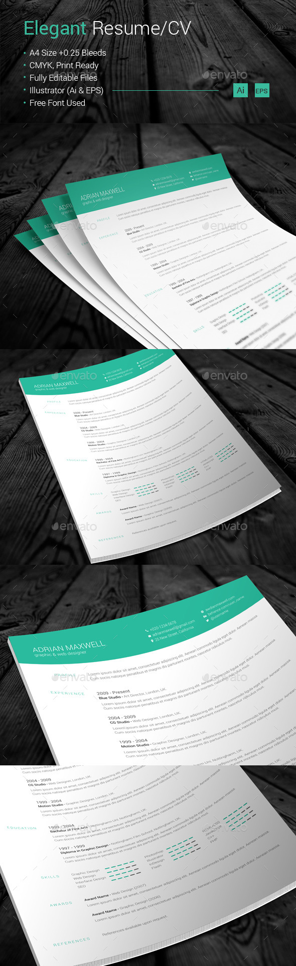 GraphicRiver Elegant Resume CV 10664848