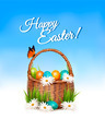 Happy Easter background. Basket with eggs and a butterfly against a blue sky.  - PhotoDune Item for Sale