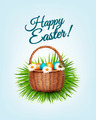 Happy Easter background. Basket with eggs, daisies, grass and a butterfly.  - PhotoDune Item for Sale