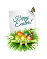 Spring Easter background. Easter eggs in grass with flowers.  - PhotoDune Item for Sale