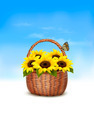 Spring background. Basket full of sunflowers and a butterfly. - PhotoDune Item for Sale