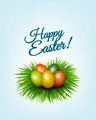 Happy Easter background. Colorful easter eggs in green grass. - PhotoDune Item for Sale