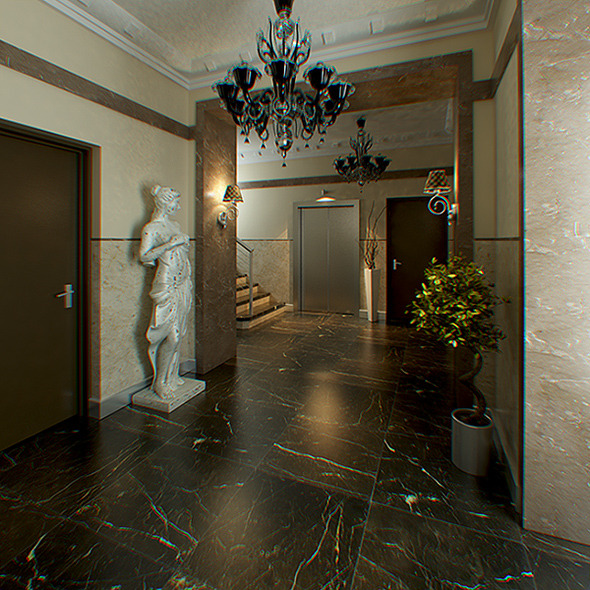 Hall Lobby Decorated Interior (full scene) - 3DOcean Item for Sale