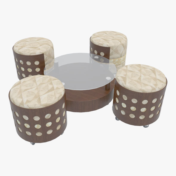 3DOcean Coffee Table With Chairs-2 10665218