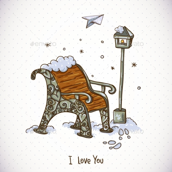 GraphicRiver Vintage Winter Card with Snow-Covered Bench 10665471