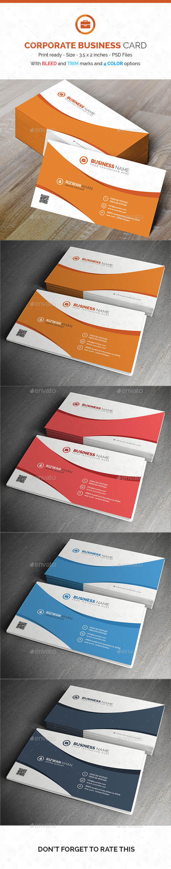 GraphicRiver Corporate Business Card PSD Template 10665473