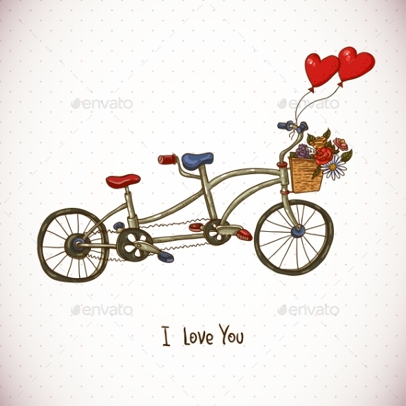 Vintage Floral Card with Tandem Bike