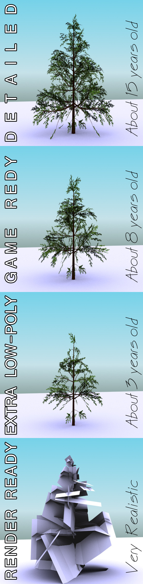 GameReady Low Poly Tree Pack 1 (Lawson's Cypress) - 3DOcean Item for Sale
