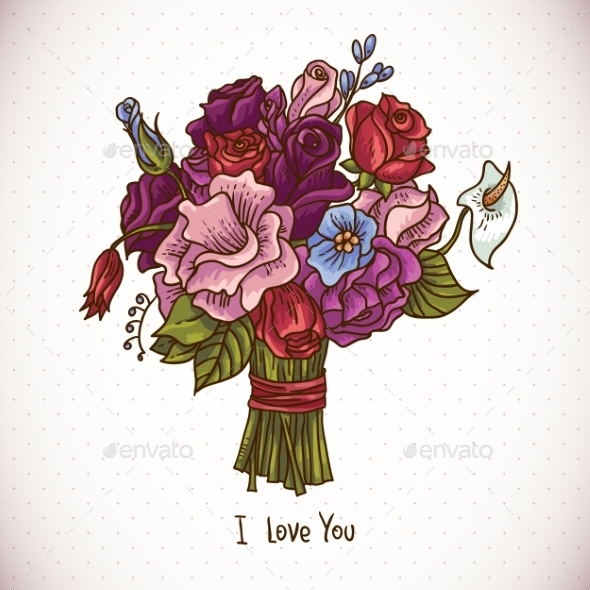 GraphicRiver Vintage Doodle Wedding Bouquet 10665746