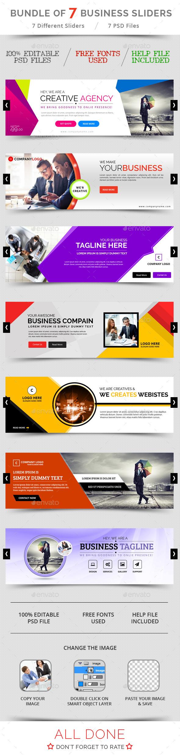GraphicRiver Bundle of 7 Business Sliders 10665754