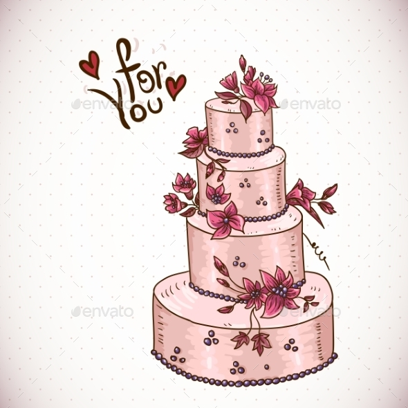 GraphicRiver Vintage Floral Card with Wedding Cake 10665757
