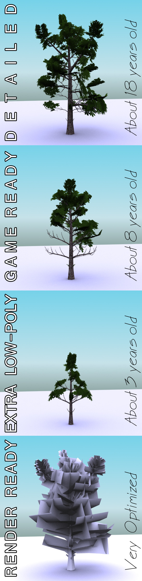 3DOcean GameReady Low Poly Tree Pack 3 Horse-chestnut 10666383