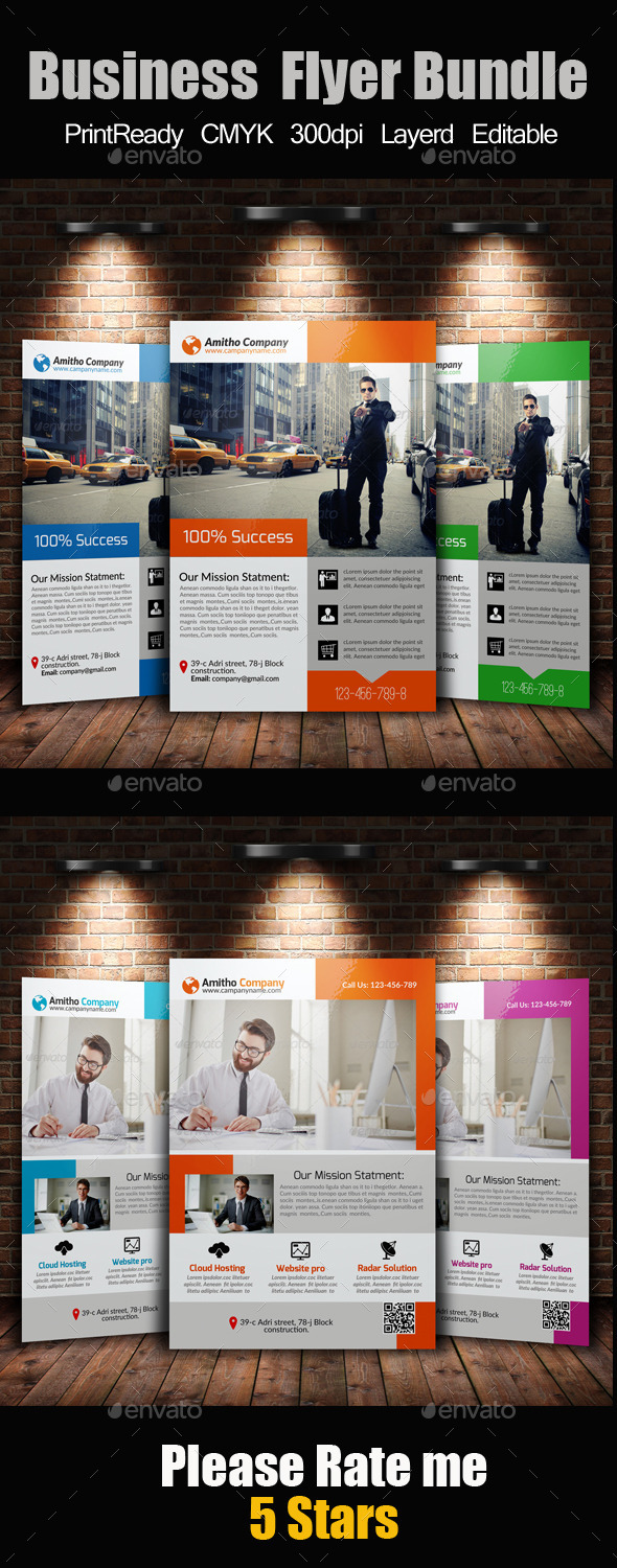 GraphicRiver A4 Business Flyer Template Bundle 10666422