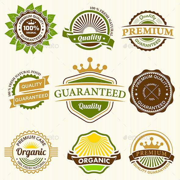 GraphicRiver Set of Fresh Organic Labels and Elements 10666427
