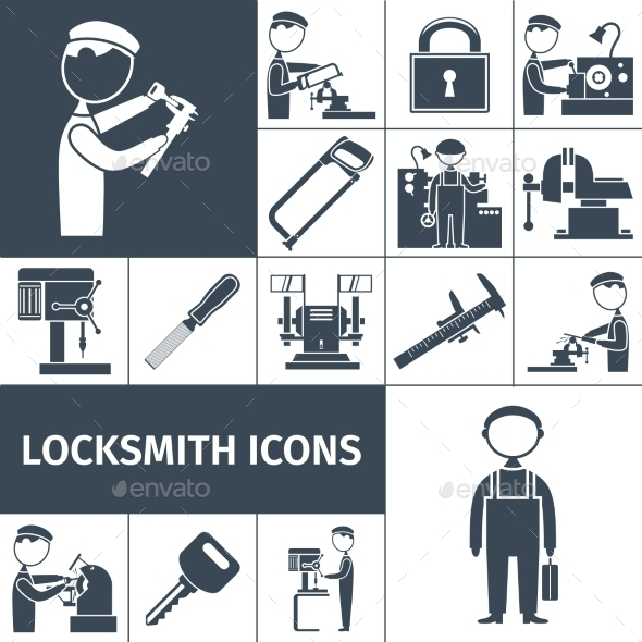 GraphicRiver Locksmith Icons Black 10666606