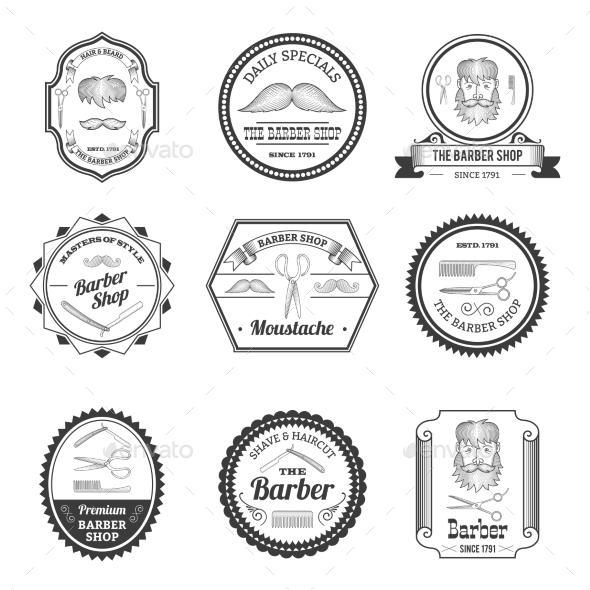 GraphicRiver Barber Shop Emblems 10666617