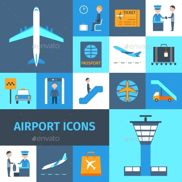 GraphicRiver Airport Decorative Icons Set 10666623