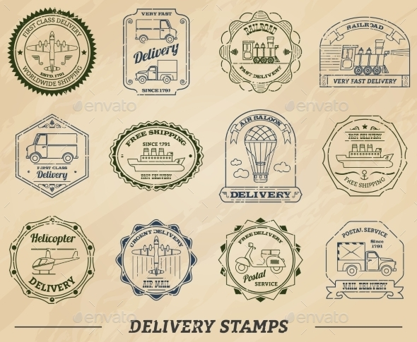 GraphicRiver Delivery Stamps Set 10666630