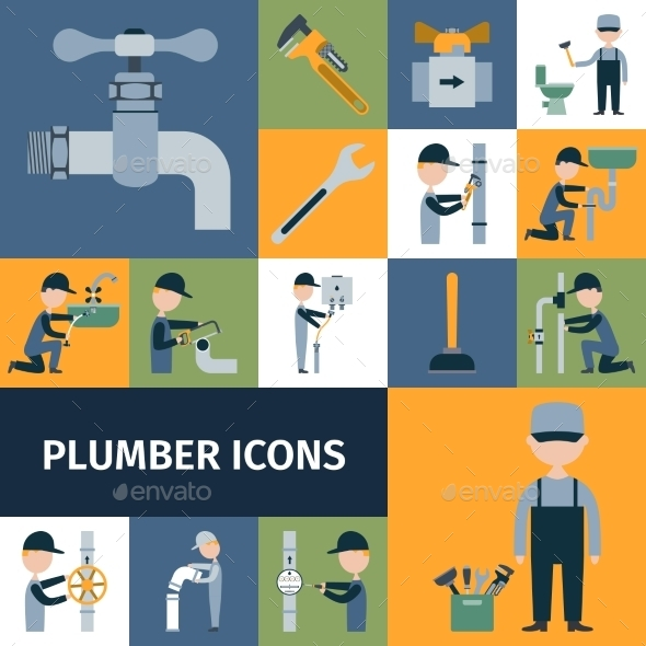 GraphicRiver Plumber Icons Set 10666638