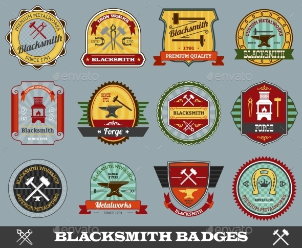 GraphicRiver Blacksmith Badges Set 10666641