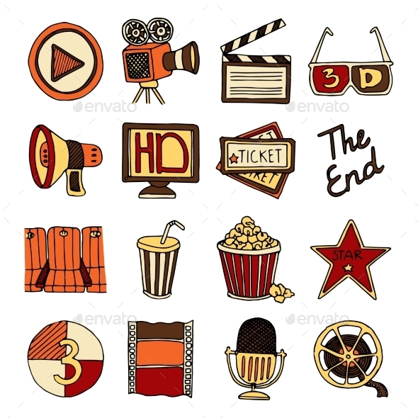 GraphicRiver Cinema Vintage Icons Set 10666652