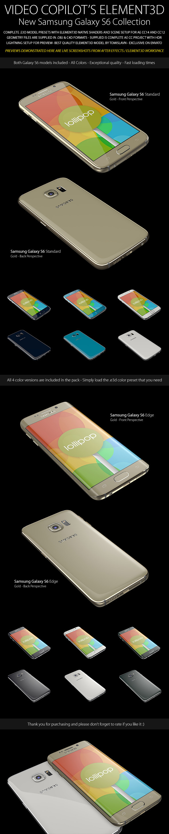 Element3D - Samsung Galaxy S6 Collection - 3DOcean Item for Sale