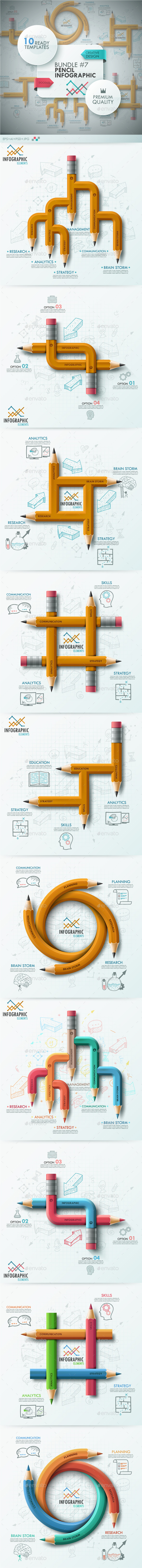 GraphicRiver The Seventh Bundle Pencil Infographics 10606124