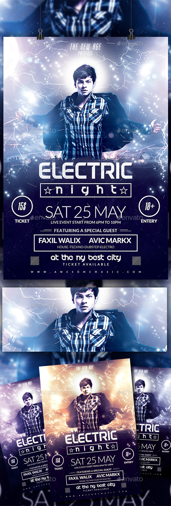 GraphicRiver Electric Night Flyer 10666953