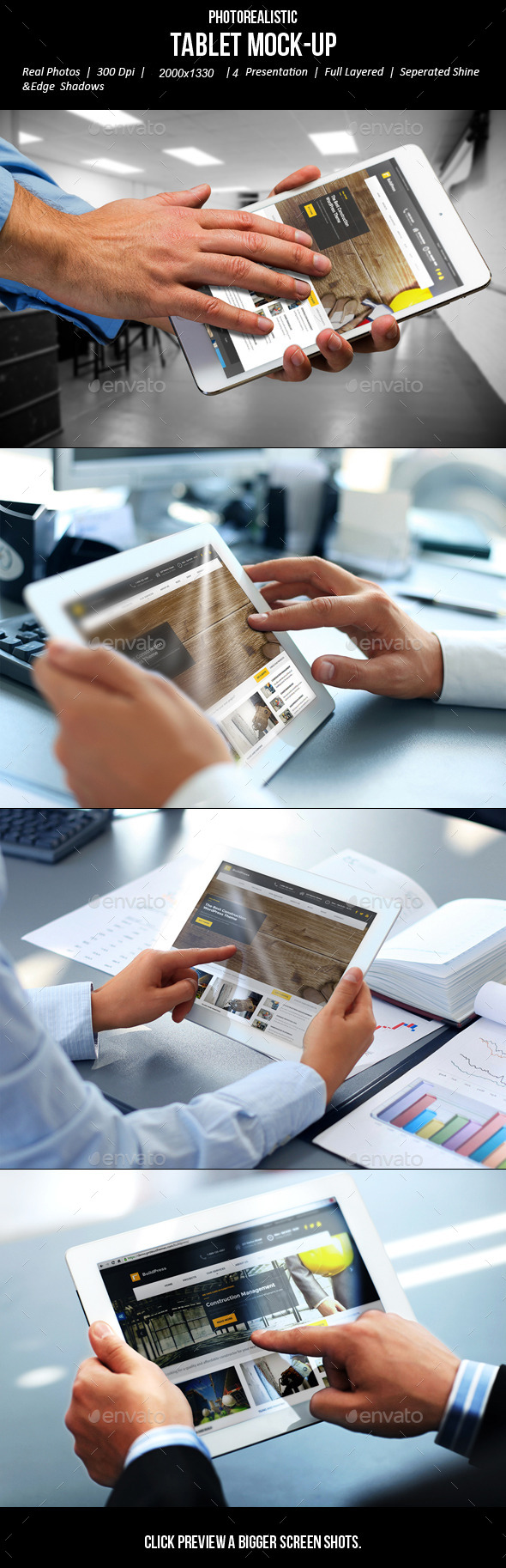 GraphicRiver Photorealistic Tablet Mock-Up 10667050