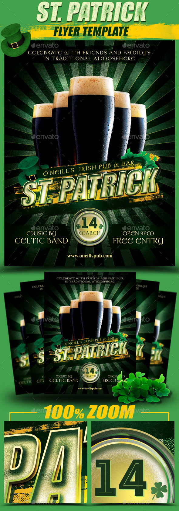 GraphicRiver St Patrick Black Beer Flyer Template 10597395