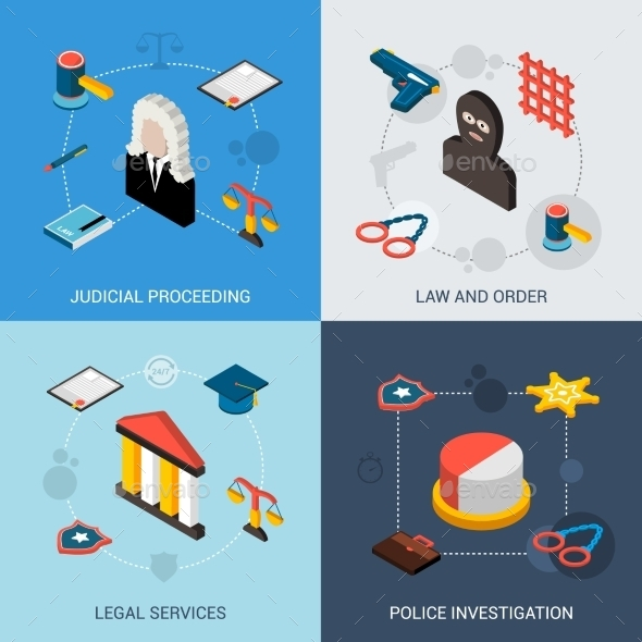 GraphicRiver Law Isometric Set 10667113