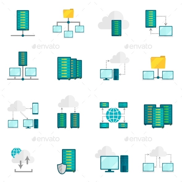 GraphicRiver Hosting Service Flat Icons Set 10667203