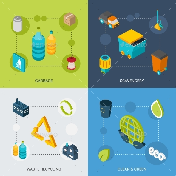 GraphicRiver Garbage Isometric Set 10667352