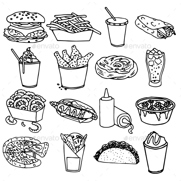 GraphicRiver Fast Food Menu Icons 10667357