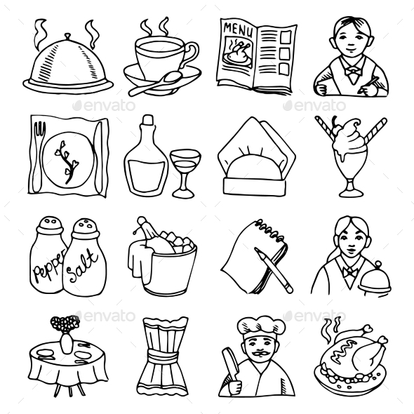 GraphicRiver Restaurant Dishes Icon Set 10667358