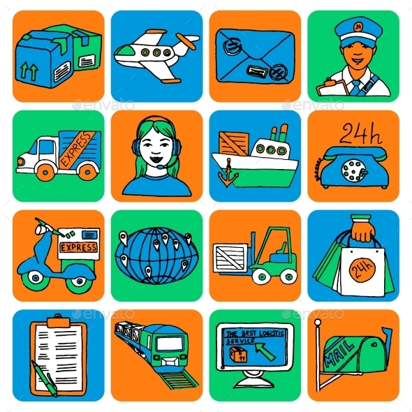 GraphicRiver Logistic Cartoon Icons 10667361
