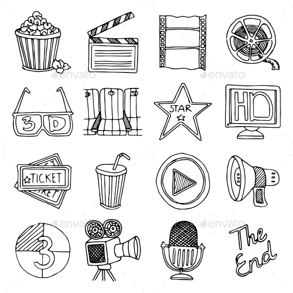 GraphicRiver Cinema Movie Vintage Icons Set 10667364