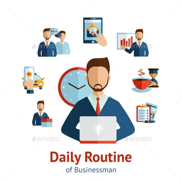 GraphicRiver Businessman Daily Routine Concept Poster 10667461