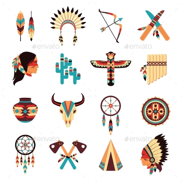 GraphicRiver Ethnic American Indigenous Icons Set 10667462