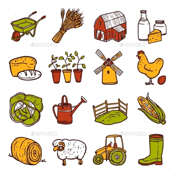 GraphicRiver Agriculture Icons Set 10667479