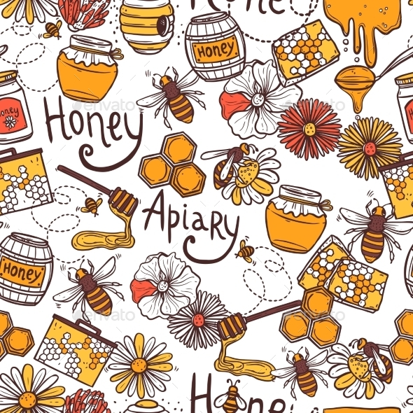 GraphicRiver Honey Seamless Pattern 10667481