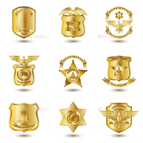GraphicRiver Police Badges Gold 10667486